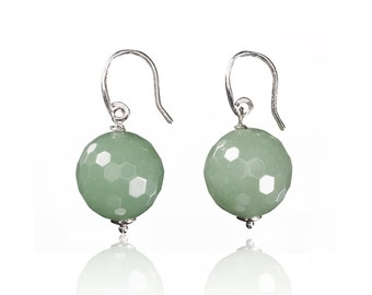 Green Amazonite and Silver earrings