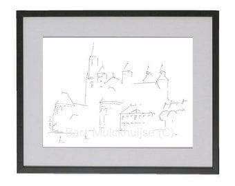 Original minimalistic drawing of the Vrijthof in Maastricht (Netherlands)