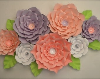 Giant Paper Flowers-Set of 7