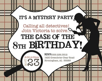 Mystery Detective Birthday Invitation