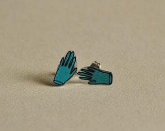 teal rubber gloves // shrink plastic earrings