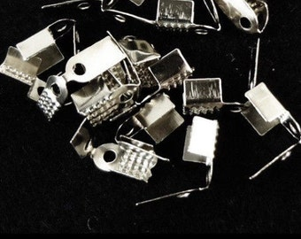 50pcs 9mm by 4.5mm Silver Fold Over Crimp Ends Connectors Findings Jewelry Making Supplies Design Wholesale (ID BC-18)