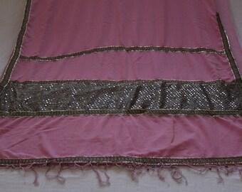 pink georgette saree,pink sequin sari,pink sarong,pink sari scarf,sequin fabric,vintage sari,indian saree,boho curtains fabric,sari curtains
