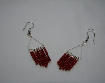 Red chandelier, dangle drop earrings, seed bead, handmade
