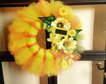 Summer Tulle Wreath, Sunflower Wreath, All Season Wreath, Spring Wreath, Mothers Day Wreath, Summer Front Door Decor, Sunflower Wreath