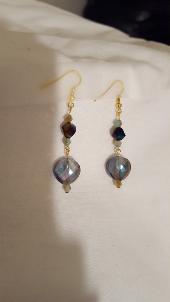 Fashion gold and purple glass crystal earrings