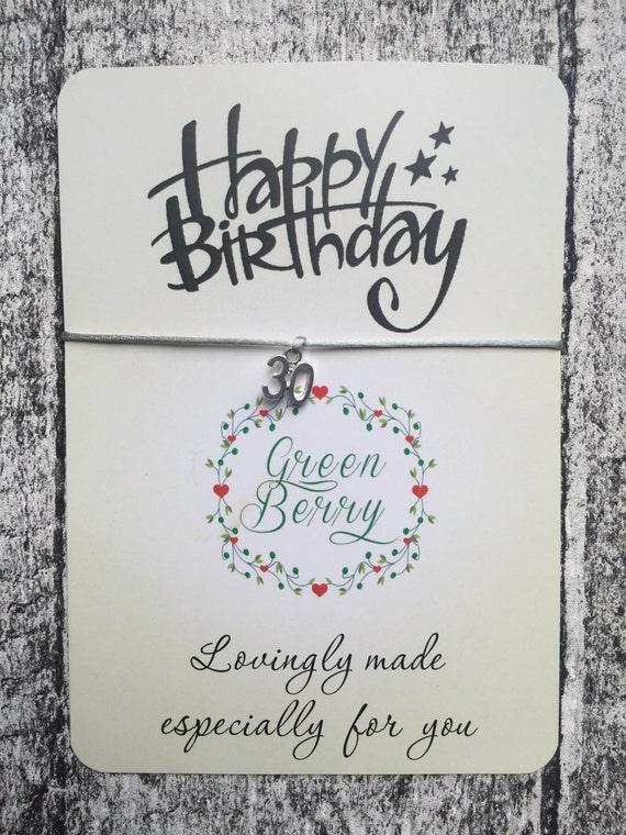 Birthday Age String Bracelet with age charm 16 18 21 30 40 50 Happy birthday card wish bracelet madebygreenberry