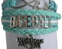 Baseball Mom Jewelry - Baseball Mom Bracelet - Mom Charm Bracelet- Perfect Gift for Baseball Moms!!