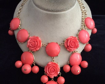 Vintage Chunky Large Pink Floral Beaded Necklace