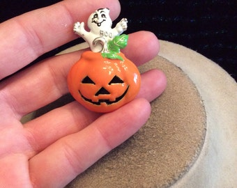 Vintage Halloween Enameled Ghost & Pumpkin Pin