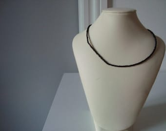 necklaces black delica pearls with silver platet lock and eye 36 cm long