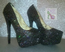 Shoes ~ High Heels ~ Glitter bling pick your colour and size. Wedding, Bridesmaid, Sweet 16, Prom, Graduation, Party, Mother of the Bride