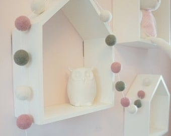 Stone and Co Felt Ball Pom Pom Garlands For Nursery, Bedrooms, Decorations
