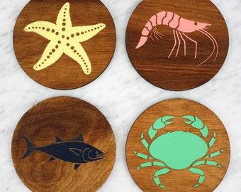 NEW Sea Creature Coasters | Nautical Coasters | Laser Cut | Made in Maine