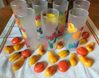 Vintage Federal Glassware, Frosted Fruit Pattern, Set of 7