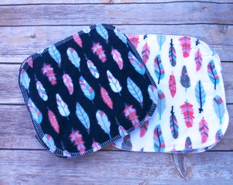 Flannel Cloth Wipes- Two-Sided Baby Wipes-  Feather 8x8 Serged Wipes-Eco-Friendly Set-Ready to Ship-Reusable Cloth-Eco-Friendly
