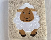 Sheep Facecloth - Machine Embroidered Facecloth/Washcloth/Flannel - Handmade gifts for children