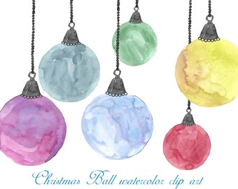 Buy 3 for 9 USD - Christmas ball watercolor, Handpainted watercolor, digital clipart, cards, invitationsrt, PNG