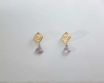 Matte Gold Square Post Earrings With Amethyst Gemstone