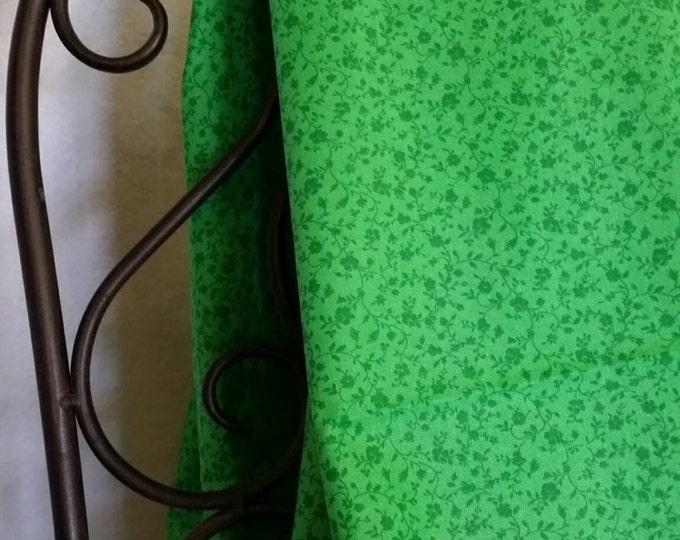 100 Percent Quilting Cotton Green Flowers on a Vivid Green Background Tone on Tone