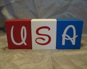 USA Wooden Blocks (Set of Three)