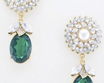 Grenalin -Green gem/ Stud drop-earrings/Statement earrings/Anthropologie/J Crew/