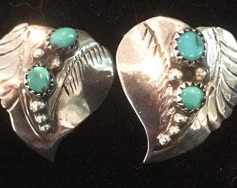 Beautiful Sterling Silver Navajo Turquoise Earrings