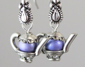 Teapot earrings with lavender Spectra bead kitchen jewelry women's purple gift for her tea beaded bead unique