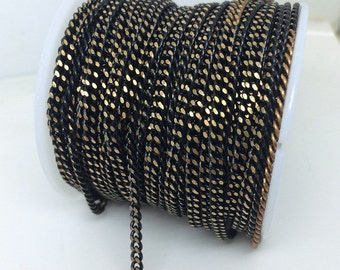 10 Yards Polished Flat Black Curb Chain Brass Based 180s 2.7x3.5mm Welded Link