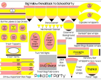Big Yellow Pencil Back to School Party Printable Package