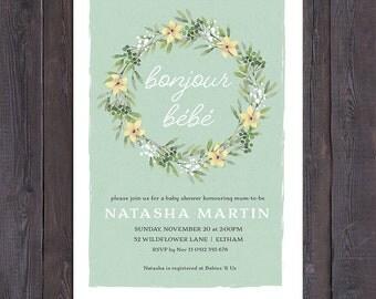 Baby shower invitation, french bonjour bebe, floral wreath, sage green background, boy or girl, neutral, twins, customised digital printable
