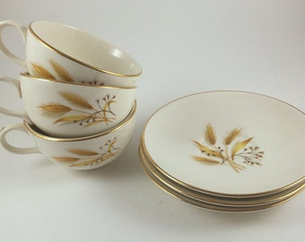 Vintage Tea Cups and Saucers, Homer Laughlin Golden Wheat, Rhythm,  6 Piece Set, Gold Trim, Coffee Cups, 1950s Mid Century Kitchen