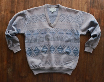 Wool Argyle Sweater in Blue and Gray