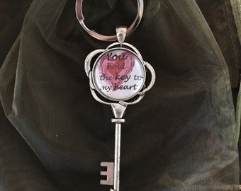 Keyring and key antique silver You hold the key to my heart