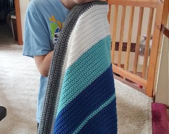 Chunky striped crochet afghan child