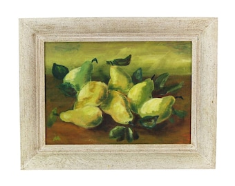 Mid-Century Modern Still Life Oil Painting Green Pears by Maley