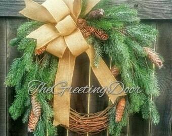 Winter Christmas Wreath, Christmas Door Wreath, Christmas Wreath, Pine Wreath, Holiday Decor