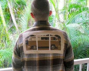 Vintage VW Bus Shirt! Vintage Flannel + Vintage Tee = Flanneltees!