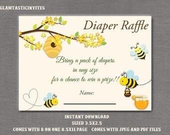 Baby Shower Diaper Raffle, BEE Baby Shower, Bee Invitation, Bee Baby Shower Game, BEE Diaper Raffle Ticket, Invitation Insert
