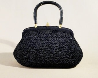 Original 40ties/50ties Blue Cord Vintage Bag, Handbag, Small Bag, Evening Bag, Wristpurse, Evening Purse