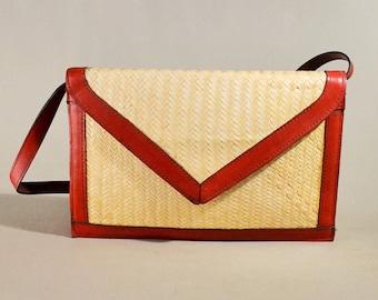 Vintage Beige Reed Leather Bag, Handbag, Shoulderbag, Summer Bag, Shoulderpurse