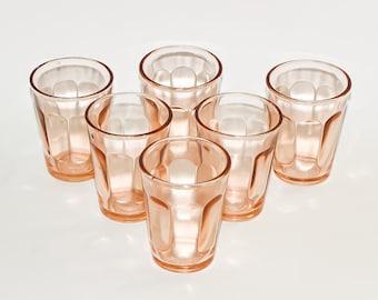 Soviet Vodka glasses Set of 6 Vintage colorful glassware Russian Vodka shot glass Pale Pink Glass 100 ml Small Vodka Glasses Famous USSR