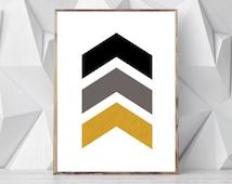 Black Gold Wall Decor, Scandinavian Wall Print, Minimalist Geometric Wall Art, Minimal Modern Prints, Chevron Wall Decor, Black and Gold