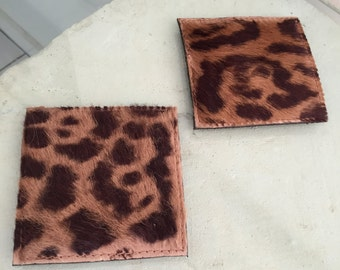 Leather backed goatskin drink coasters set of 2!!!