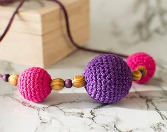 Crochet beads jewelry, crochet bijouterie, crochet necklace, violet pink crocket neclace, wooden beads jewelry, gift for her
