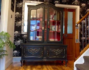 Sold---Sold--Carved Vintage Louis Style French Shabby Chic Bookcase Display Drinks Cabinet In Annie Sloan Graphite & Emperors Silk
