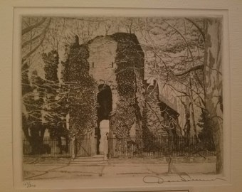 Original Limited Edition Etching by Don Swann Titled Jamestown Tower