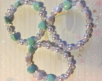 Fairy Kei Lolita Mint Hearts Stretch Bracelet Set