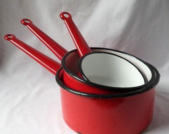 Vintage red enamel pans / lot three / decoration kitchen