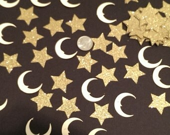 100 Moon & Stars Paper Confetti, Table Scatter, Cutouts Birthday, Wedding, Bridal Shower, Baby Shower, Scrapbook Embellishments Decorations